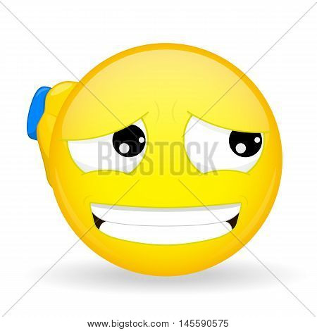 Guilty emoticon. Apologetic emoticon. Emoticon scratching his head handed. Sorry emoji. It's not my fault emotion. Vector illustration smile icon.