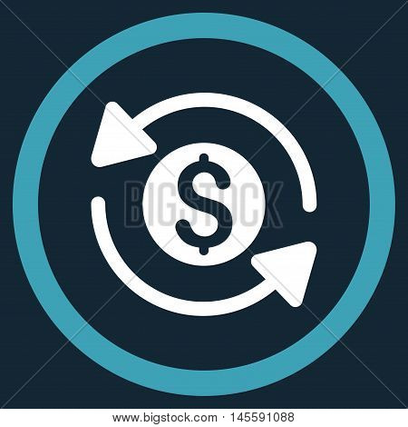 Money Turnover vector bicolor rounded icon. Image style is a flat icon symbol inside a circle, blue and white colors, dark blue background.