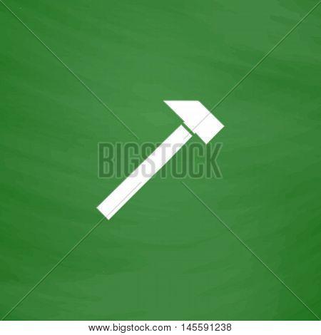 sledgehammer Simple vector button. Imitation draw icon with white chalk on blackboard. Flat Pictogram and School board background. Illustration symbol