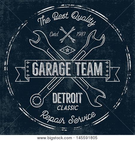 Garage service vintage tee design graphics, Detroit classic, repair service typography print. T-shirt stamp, teeshirt graphic, premium retro artwork. Use as emblem, logo on web projects. Vector.