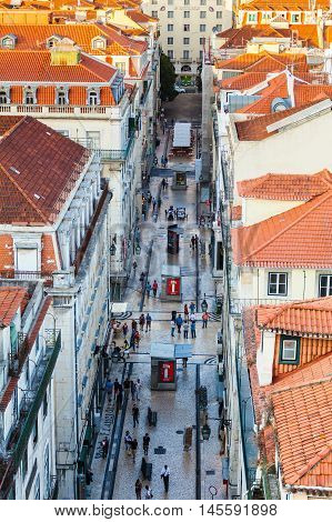 LISBON, PORTUGAL - JULY 13, 2015: View of the central part of the Lisbon from Santa Justa Lift, Portugal. Aerial view.