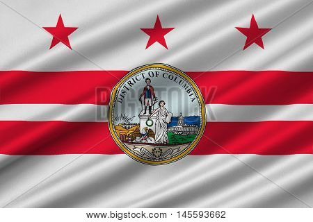 Flag of Washington D.C. formally the District of Columbia of the United States. 3D illustration
