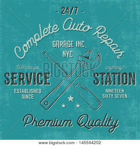 Service station vintage label, tee design graphics, auto repair service typography print. T-shirt stamp, teeshirt graphic, premium retro artwork. Use also as emblem, logo on web projects. Vector.
