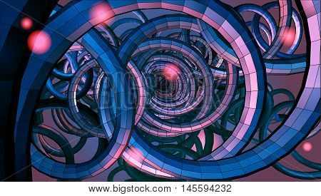 Abstract spiral wire background with technology or sci fi conceptual on red purple light mood