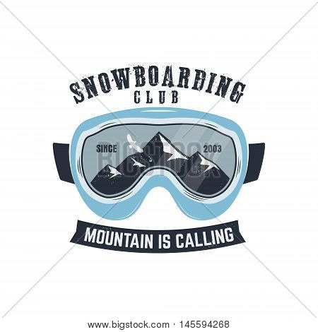 Snowboarding goggles logo and label template. Winter snowboard sport store badge. Extreme emblem and stamp. Mountain Adventure insignia, patch. Vector vintage bright palette. Retro design.