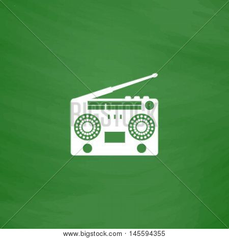 boombox Simple vector button. Imitation draw icon with white chalk on blackboard. Flat Pictogram and School board background. Illustration symbol
