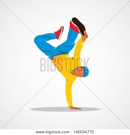 Breakdancer dancing and making a frieze on one hand hip hop acrobatic Branding Identity Corporate logo design template Isolated on a white background. Vector illustration.