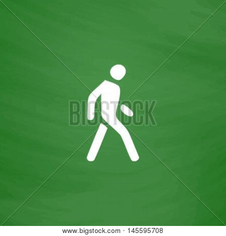 Walk Man Simple vector button. Imitation draw icon with white chalk on blackboard. Flat Pictogram and School board background. Illustration symbol