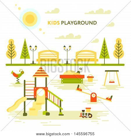 Children's playground. Teeter board swings sandpit sandbox bench tree house children slide. Pregnant mother and elder daughter Baby-themed flat stock illustration with isolated elements.