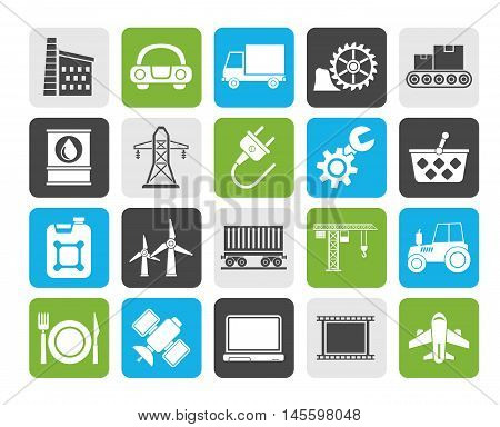 Silhouette Business and industry icons - vector icon set