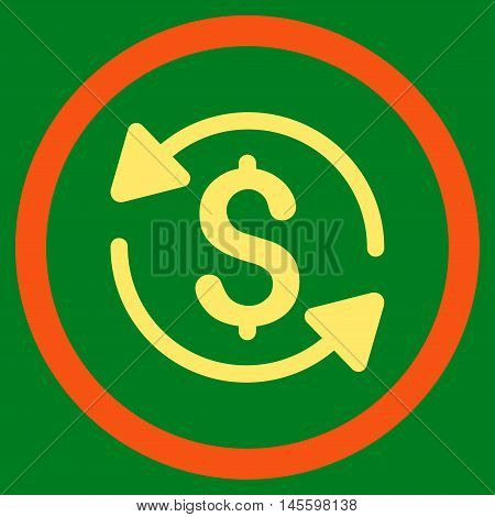 Money Turnover vector bicolor rounded icon. Image style is a flat icon symbol inside a circle, orange and yellow colors, green background.