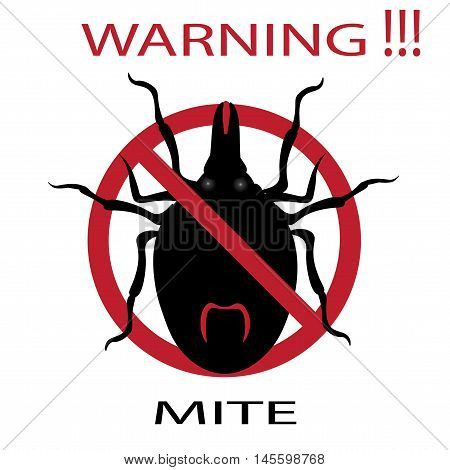 Symbol parasite warning sign. Mite spider. Mite red. Mite allergy. Epidemic. Mite parasites. Vector illustration