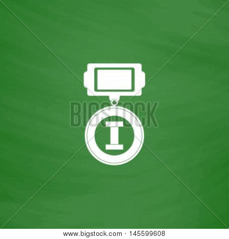 award Simple vector button. Imitation draw icon with white chalk on blackboard. Flat Pictogram and School board background. Illustration symbol