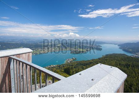 View from observation tower Pyramidenkogel To Lake WoerthCarinthiaAustria