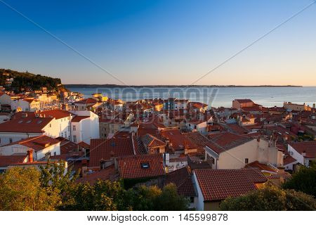 Sunset view on the coastline in Piran town. Piran is one of Slovenia's major tourist attractions.