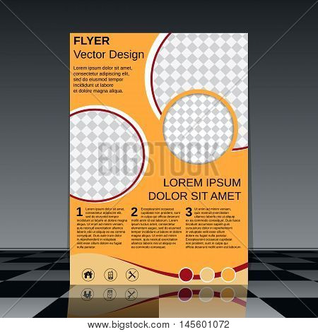 Professional business flyer with yellow and maroon elements vector design template