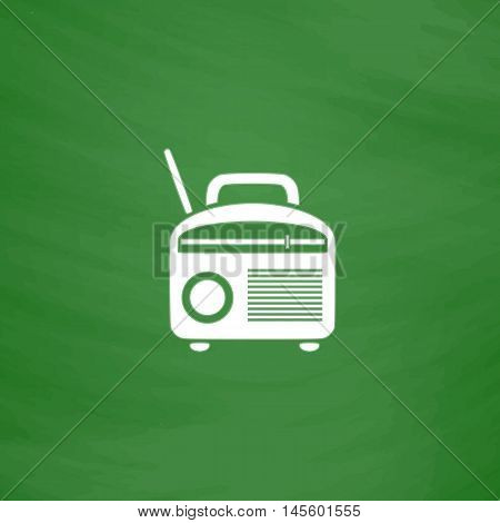 Radio Simple vector button. Imitation draw icon with white chalk on blackboard. Flat Pictogram and School board background. Illustration symbol