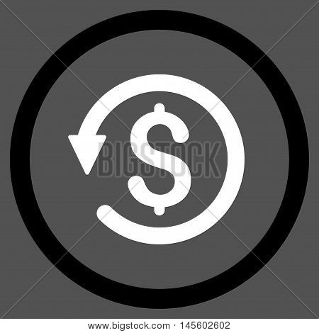 Chargeback vector bicolor rounded icon. Image style is a flat icon symbol inside a circle, black and white colors, gray background.