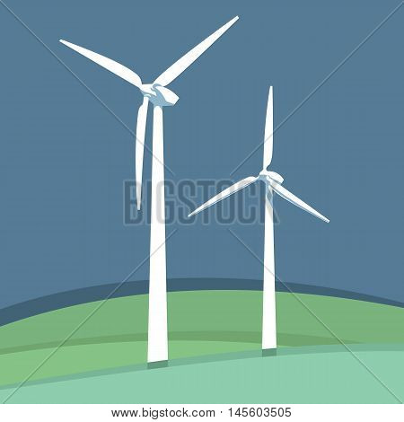 Windmills set. Alternative energy source. Vector illustration.