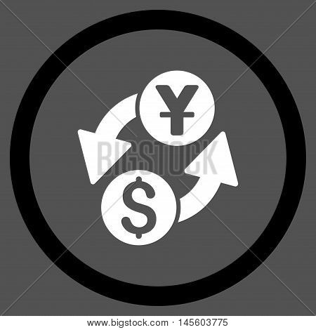 Dollar Yuan Exchange vector bicolor rounded icon. Image style is a flat icon symbol inside a circle, black and white colors, gray background.