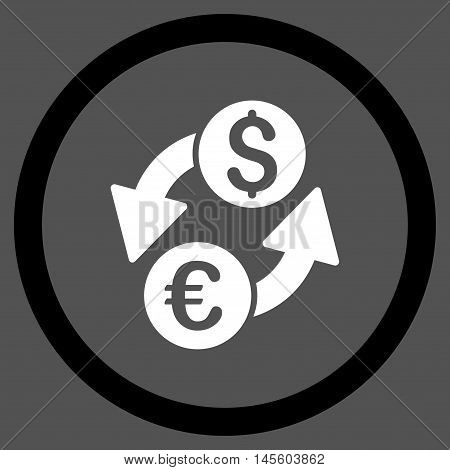 Euro Dollar Exchange vector bicolor rounded icon. Image style is a flat icon symbol inside a circle, black and white colors, gray background.