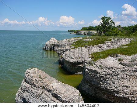 Limestone rock along Lake Manitoba coastline - Canada