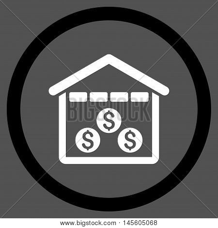 Money Depository vector bicolor rounded icon. Image style is a flat icon symbol inside a circle, black and white colors, gray background.