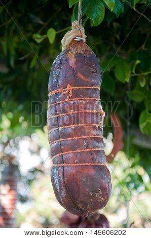 delicious salami capicollo typical Calabrian salami dry