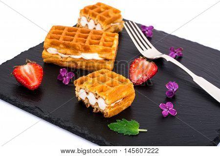 Sweet Tasty Viennese Waffles Studio Photo on Dark