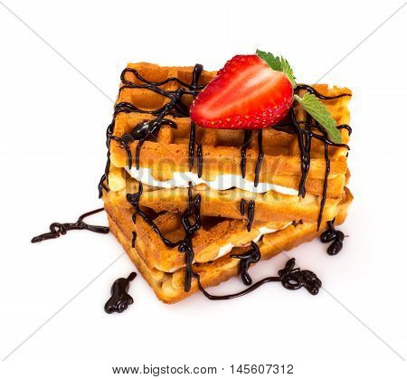 Sweet Tasty Viennese Waffles Studio Photo on White