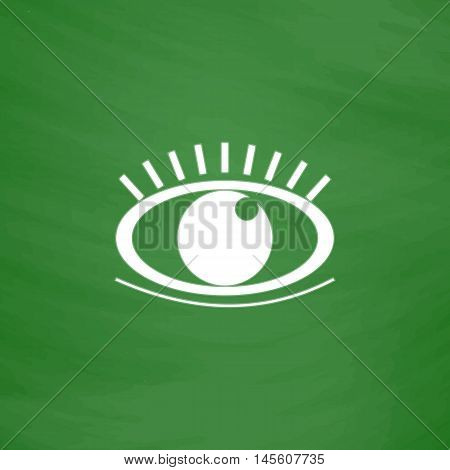 Eye Simple vector button. Imitation draw icon with white chalk on blackboard. Flat Pictogram