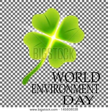 Four leaf clover on a plaid background. Vector illustration on a plaid background. World Environment Day. St. Patrick's day symbol