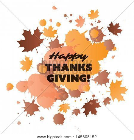 Happy Thanksgiving Card Design Template with Scattered Fallen Autumn Leaves - Watercolor Style