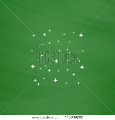 stars Simple vector button. Imitation draw icon with white chalk on blackboard. Flat Pictogram