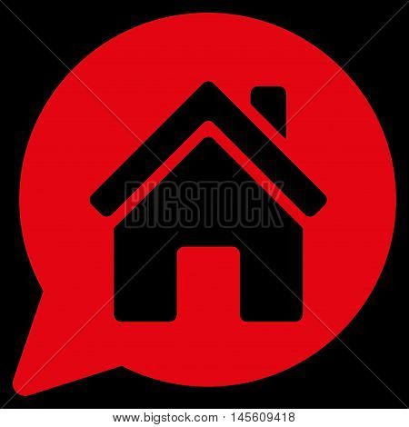 House Mention icon. Vector style is flat iconic symbol, red color, black background.