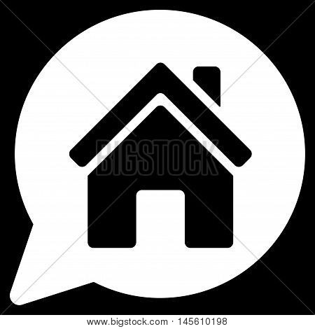 House Mention icon. Vector style is flat iconic symbol white color black background.