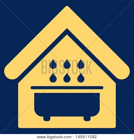 Bathroom icon. Vector style is flat iconic symbol yellow color blue background.