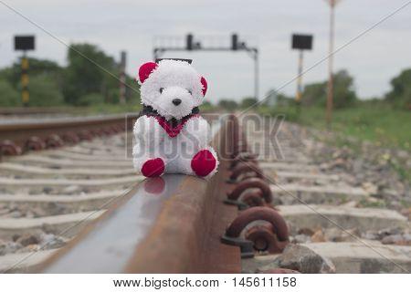 Toy teddy bear on the railroad. Cute teddy bear