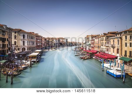 Venice grand canal or Canal Grande view from Rialto bridge. Italy Europe