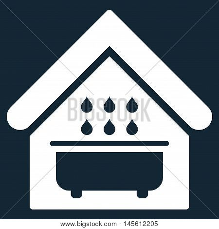 Bathroom icon. Vector style is flat iconic symbol, white color, dark blue background.
