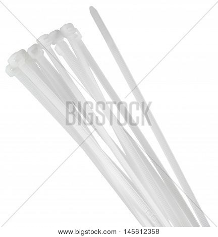 Cable ties isolated on white background without shadows.