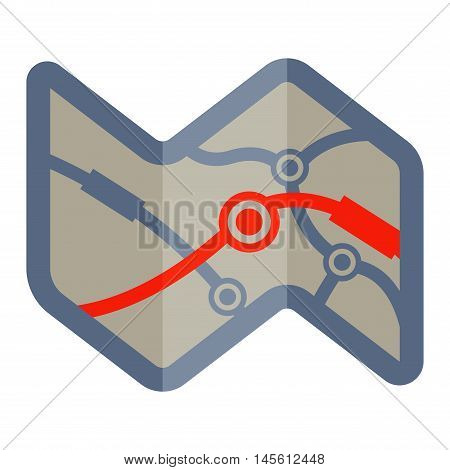 Vector wavy road with map flat illustration. Abstract journey design distance transport route road map. City cartography route road map travel direction sign street navigation symbol.