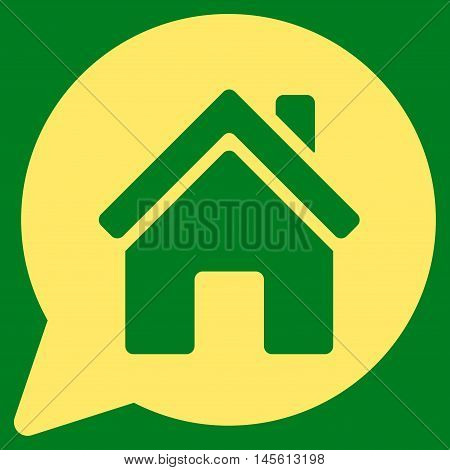 House Mention icon. Vector style is flat iconic symbol, yellow color, green background.
