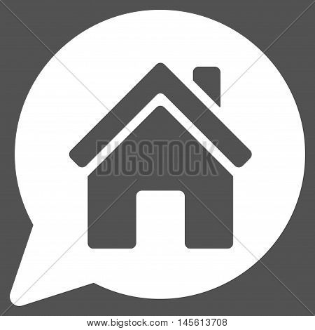 House Mention icon. Vector style is flat iconic symbol, white color, gray background.