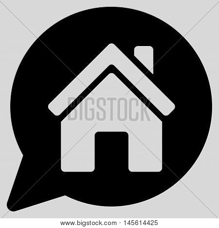 House Mention icon. Vector style is flat iconic symbol, black color, light gray background.