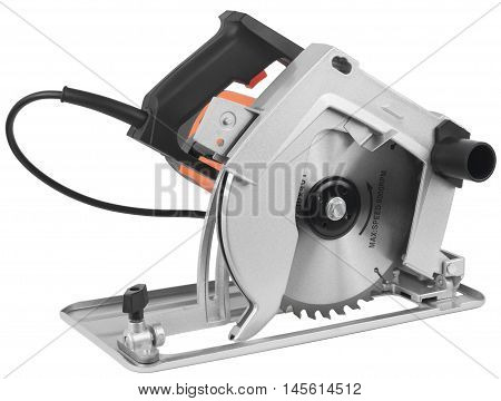 Electric circular saw. Object is isolated on white background without shadows.