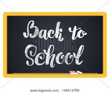 Back to School Chalkboard Background. Hand lettering inscription in chalk on a blackboard