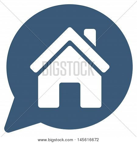 House Mention icon. Vector style is flat iconic symbol, blue color, white background.