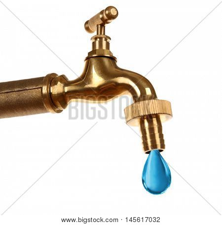 Conservation water concept. Faucet with blue water drop on white background.