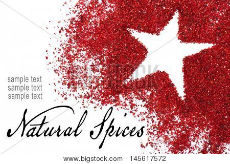Dried sumac with star silhouette isolated on white